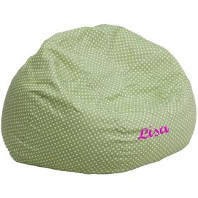 Personalized Oversized Green Dot Bean Bag Chair [DG-BEAN-LARGE-DOT-GRN-EMB-GG]