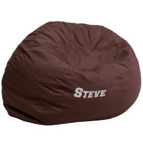 Personalized Oversized Solid Brown Bean Bag Chair [DG-BEAN-LARGE-SOLID-BRN-EMB-GG]