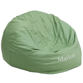 Personalized Oversized Solid Green Bean Bag Chair [DG-BEAN-LARGE-SOLID-GRN-EMB-GG]