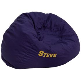 Personalized Oversized Solid Navy Blue Bean Bag Chair [DG-BEAN-LARGE-SOLID-BL-EMB-GG]