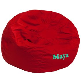 Personalized Oversized Solid Red Bean Bag Chair [DG-BEAN-LARGE-SOLID-RED-EMB-GG]