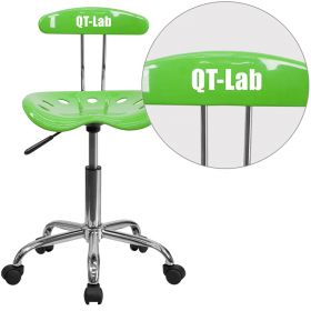 Personalized Vibrant Apple Green and Chrome Task Chair with Tractor Seat [LF-214-APPLEGREEN-EMB-VYL-GG]