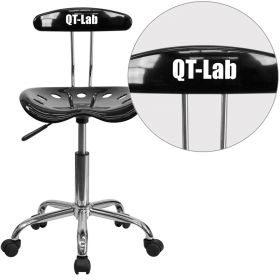 Personalized Vibrant Black and Chrome Task Chair with Tractor Seat [LF-214-BLK-EMB-VYL-GG]