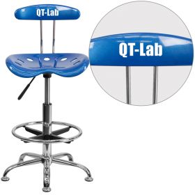 Personalized Vibrant Bright Blue and Chrome Drafting Stool with Tractor Seat [LF-215-BRIGHTBLUE-EMB-VYL-GG]