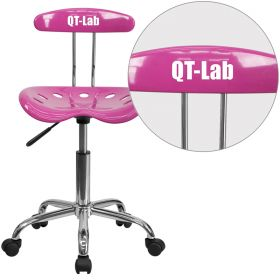 Personalized Vibrant Candy Heart and Chrome Task Chair with Tractor Seat [LF-214-CANDYHEART-EMB-VYL-GG]