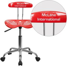 Personalized Vibrant Cherry Tomato and Chrome Task Chair with Tractor Seat [LF-214-CHERRYTOMATO-EMB-VYL-GG]