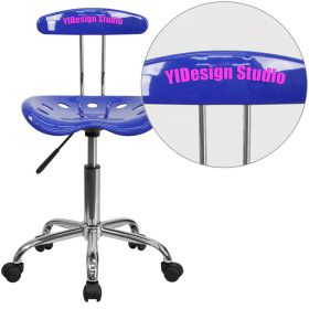 Personalized Vibrant Nautical Blue and Chrome Task Chair with Tractor Seat [LF-214-NAUTICALBLUE-EMB-VYL-GG]