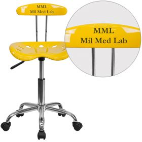 Personalized Vibrant Orange-Yellow and Chrome Task Chair with Tractor Seat [LF-214-YELLOW-EMB-VYL-GG]