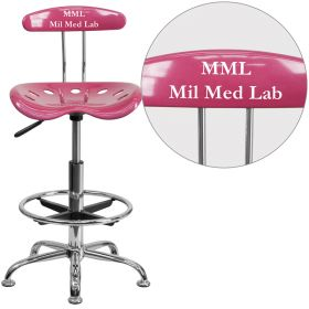 Personalized Vibrant Pink and Chrome Drafting Stool with Tractor Seat [LF-215-PINK-EMB-VYL-GG]