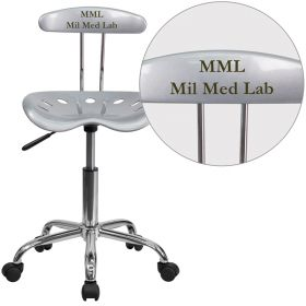Personalized Vibrant Silver and Chrome Task Chair with Tractor Seat [LF-214-SILVER-EMB-VYL-GG]