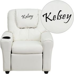 Personalized White Vinyl Kids Recliner with Cup Holder and Headrest [DG-ULT-KID-WHITE-EMB-GG]