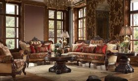 Perugia Traditional Living Room Set in Brown