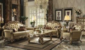 Peter Leather Traditional Living Room Set in Gold Patina