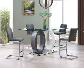 Phoen Modern Dining Room Set in Gray & White