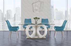 Phoenicia Modern Dining Room Set in White & Turquoise