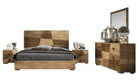 Massico Contemporary Bedroom Set in Brown & Beige