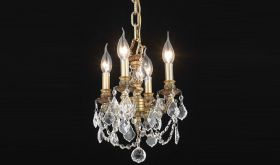Pike Traditional 4 Lights Hanging Fixture Chandelier in French Gold Finish