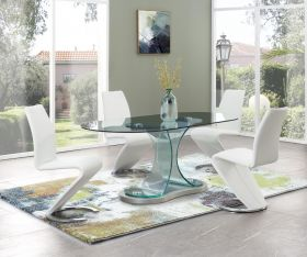 Pilot Modern Dining Room Set in Clear & White