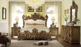Pinal Traditional Bedroom Set in Dark Walnut & Beige