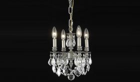 Pinckney Traditional 4 Lights Hanging Fixture Chandelier in Pewter Finish