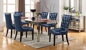 Pitman Contemporary Dining Room Set in Navy & Silver