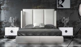Plainfield Modern Bedroom Set in White & Gray