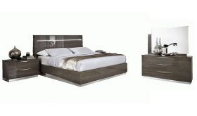ESF Platinum Legno Modern Bedroom Set in Silver Birch