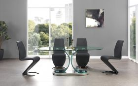 Point Modern Dining Room Set in Clear & Black