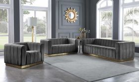 Polk Contemporary Living Room Set in Gray