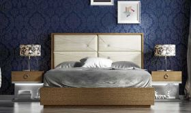 Porti Modern Bedroom Set in Beige & Gray