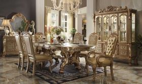 Posa Traditional Dining Room Set in Gold Patina & Bone
