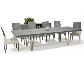 Cruz Modern Dining Room Set in Matte Concrete