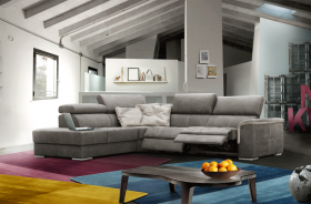 Preston Modern Sectional Sofa with 2 Electric Recliner in Grey