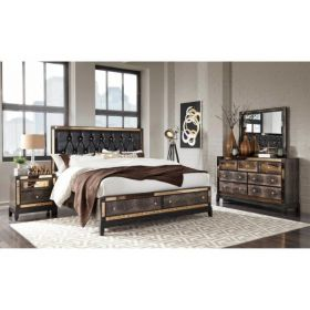 Mirror Bed Group Bedroom Set in Chocolate