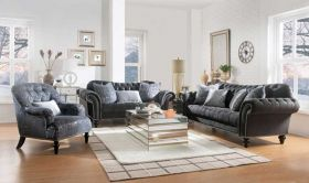 Punalu Traditional Living Room Set in Dark Gray