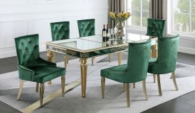 Queen Contemporary Dining Room Set in Gold/Green