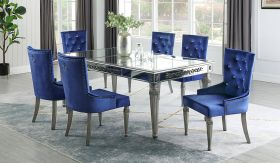 Queen Contemporary Dining Room Set in Silver/Blue