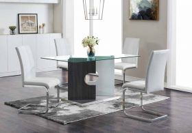 Queso Modern Dining Room Set in Gray & White