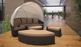 Quest Canopy Outdoor Patio Daybed in Espresso Mocha