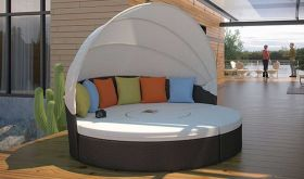 Quest Canopy Outdoor Patio Daybed in Espresso Multicolor