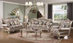 Raleigh Traditional Living Room Set in Silver