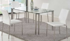 Rancho Casual Dining Room Set in Clear & White