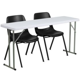 18'' x 60'' Plastic Folding Training Table with 2 Black Plastic Stack Chairs [RB-1860-2-GG]