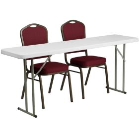 18'' x 72'' Plastic Folding Training Table with 2 Crown Back Stack Chairs [RB-1872-1-GG]