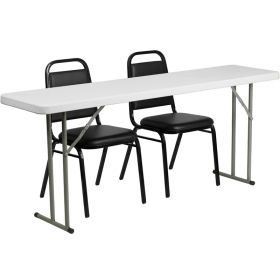 18'' x 72'' Plastic Folding Training Table with 2 Trapezoidal Back Stack Chairs [RB-1872-2-GG]