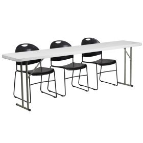 18'' x 96'' Plastic Folding Training Table with 3 Black Plastic Stack Chairs [RB-1896-1-GG]