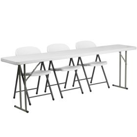 18'' x 96'' Plastic Folding Training Table with 3 White Plastic Folding Chairs [RB-1896-2-GG]