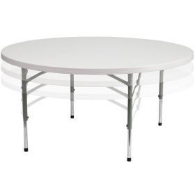 60'' Round Height Adjustable Granite White Plastic Folding Table [RB-60-ADJUSTABLE-GG]