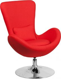 Red Fabric Egg Series Reception-Lounge-Side Chair [CH-162430-RED-FAB-GG]