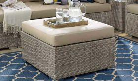 Repose Sunbrella Fabric Outdoor Patio Ottoman in Light Gray Beige